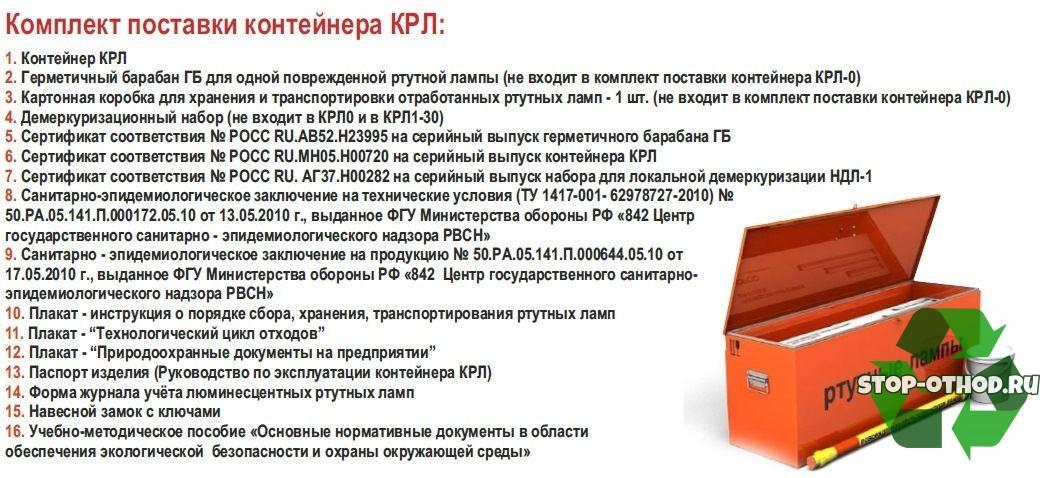 Комплектация контейнера КРЛ